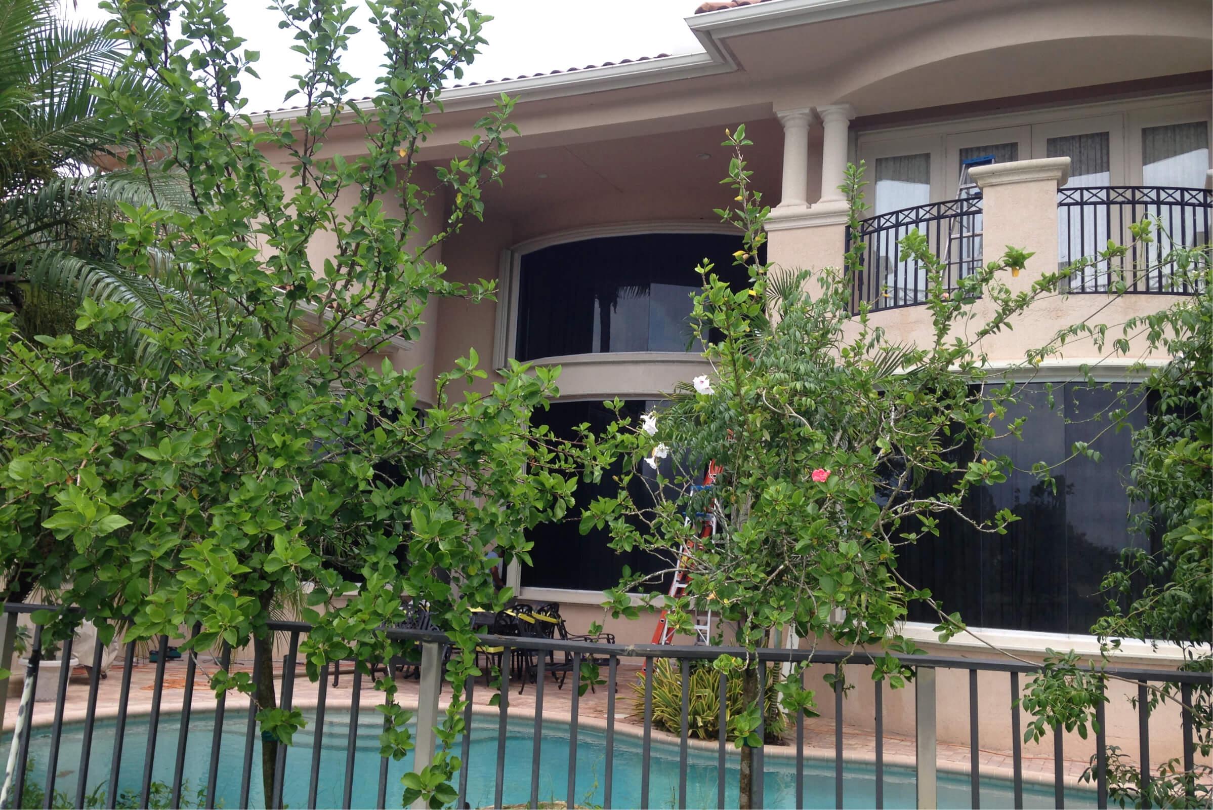 Accordion hurricane shutters on a south florida home